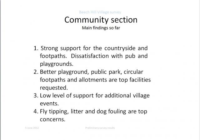 Communit Section: Main findings so far