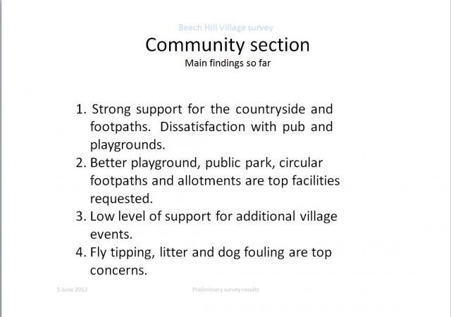 Communit Section: Main findings so far