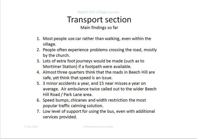 Transport Section: Main findings so far